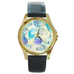Seashells Round Gold Metal Watch