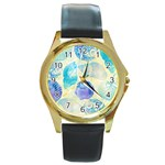Seashells Round Gold Metal Watch Front