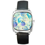 Seashells Square Metal Watch Front