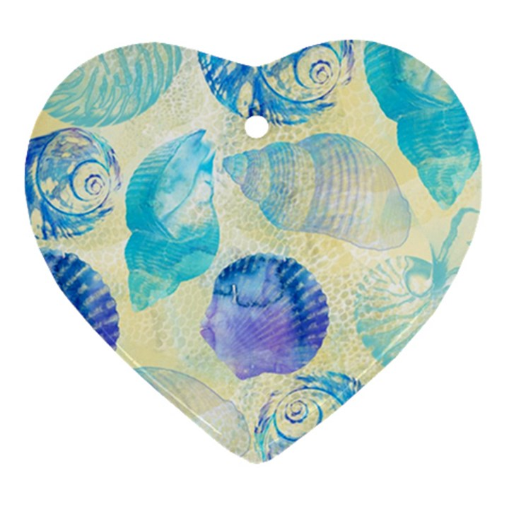 Seashells Heart Ornament (2 Sides)