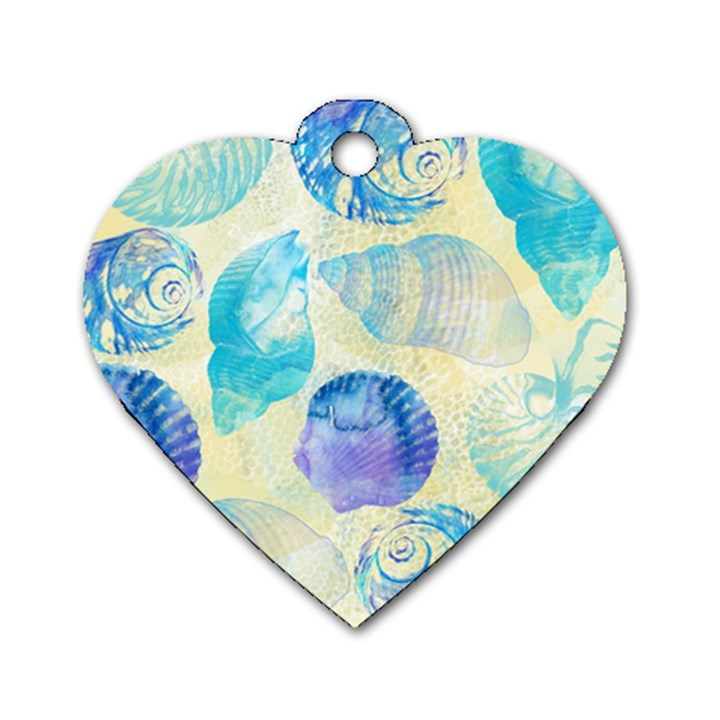 Seashells Dog Tag Heart (Two Sides)