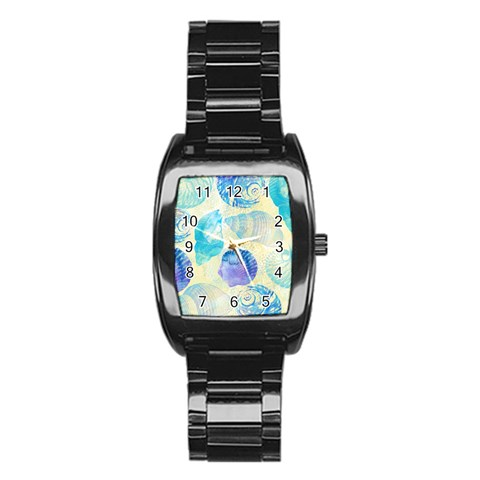 Seashells Stainless Steel Barrel Watch