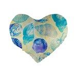 Seashells Standard 16  Premium Flano Heart Shape Cushions Back