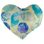 Seashells Large 19  Premium Flano Heart Shape Cushions Front