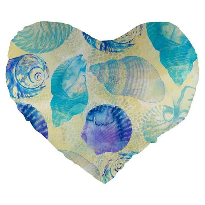Seashells Large 19  Premium Flano Heart Shape Cushions
