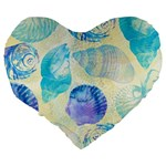 Seashells Large 19  Premium Flano Heart Shape Cushions Back