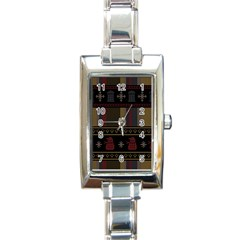 Tardis Doctor Who Ugly Holiday Rectangle Italian Charm Watch