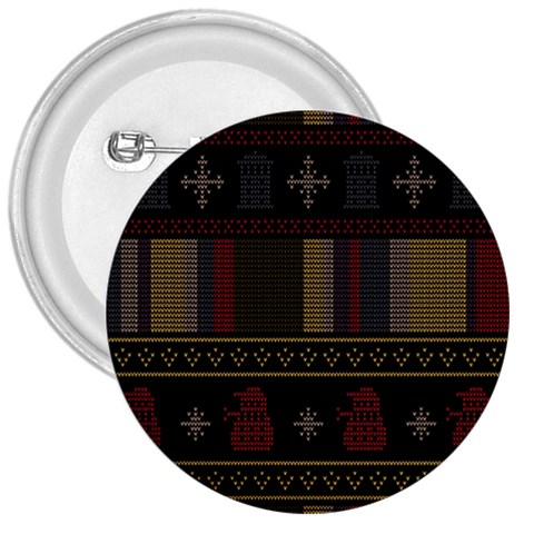 Tardis Doctor Who Ugly Holiday 3  Buttons