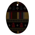 Tardis Doctor Who Ugly Holiday Ornament (Oval)  Front