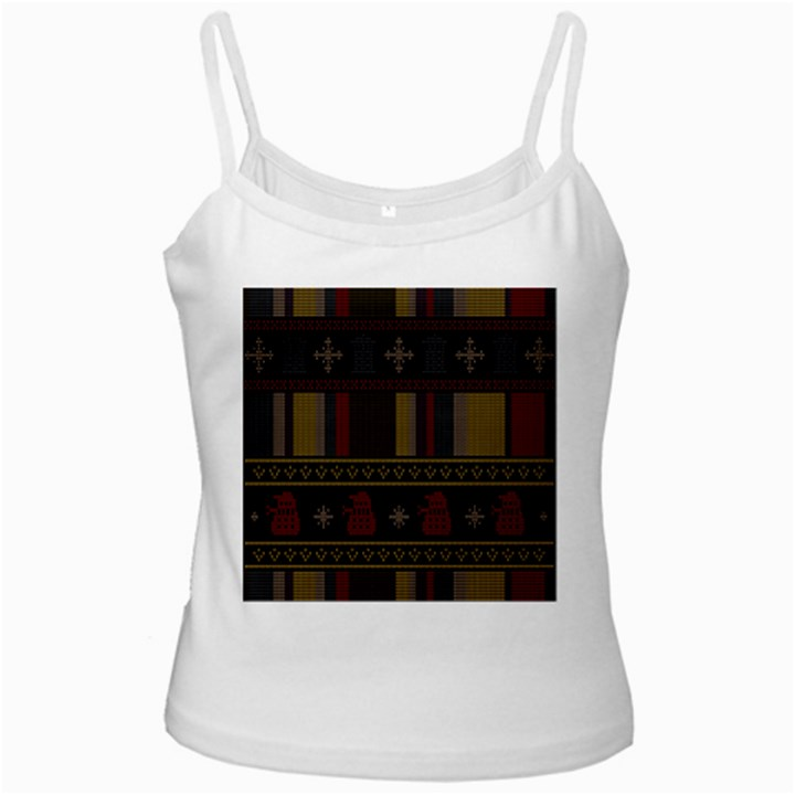 Tardis Doctor Who Ugly Holiday White Spaghetti Tank