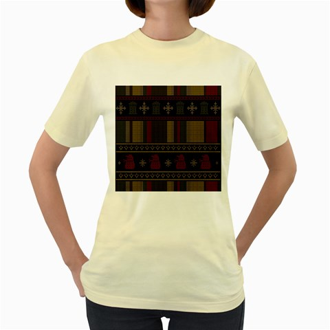 Tardis Doctor Who Ugly Holiday Women s Yellow T-Shirt