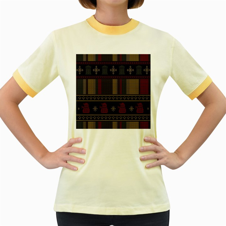 Tardis Doctor Who Ugly Holiday Women s Fitted Ringer T-Shirts
