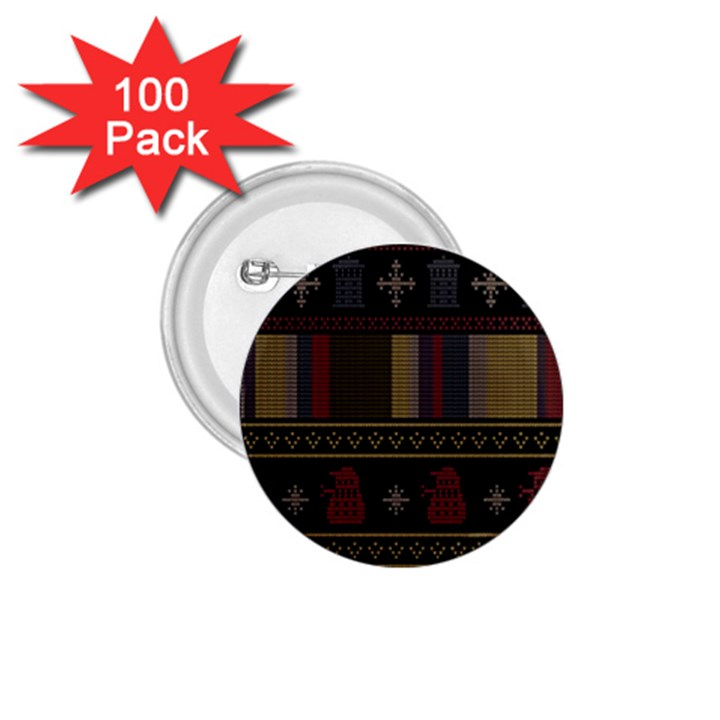 Tardis Doctor Who Ugly Holiday 1.75  Buttons (100 pack)