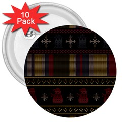 Tardis Doctor Who Ugly Holiday 3  Buttons (10 pack)