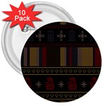 Tardis Doctor Who Ugly Holiday 3  Buttons (10 pack)  Front
