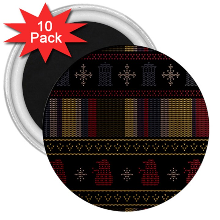 Tardis Doctor Who Ugly Holiday 3  Magnets (10 pack)