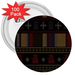 Tardis Doctor Who Ugly Holiday 3  Buttons (100 Pack)