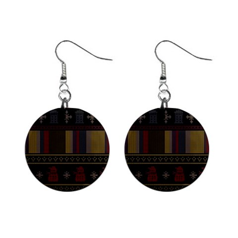 Tardis Doctor Who Ugly Holiday Mini Button Earrings