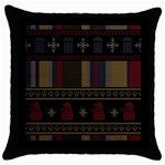 Tardis Doctor Who Ugly Holiday Throw Pillow Case (Black) Front
