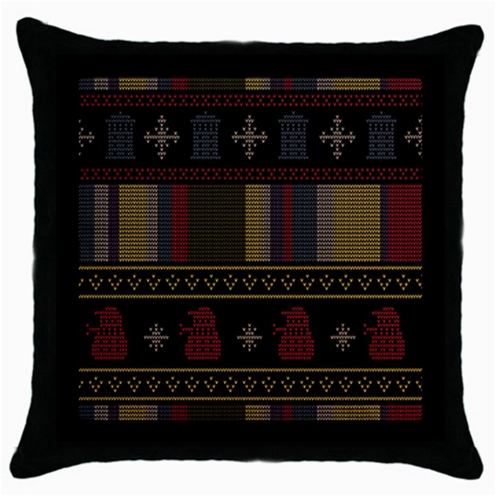 Tardis Doctor Who Ugly Holiday Throw Pillow Case (Black)