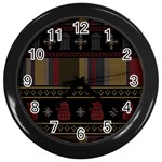 Tardis Doctor Who Ugly Holiday Wall Clocks (Black) Front
