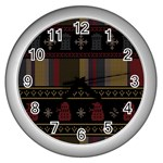 Tardis Doctor Who Ugly Holiday Wall Clocks (Silver)  Front