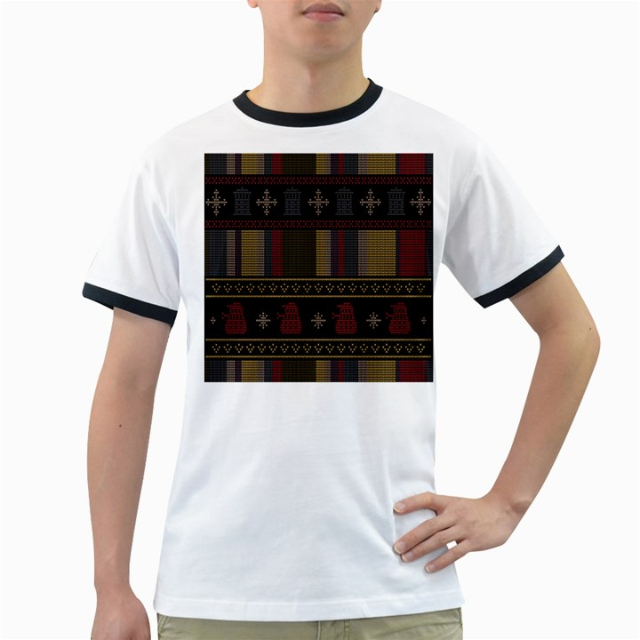 Tardis Doctor Who Ugly Holiday Ringer T-Shirts