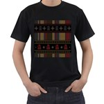 Tardis Doctor Who Ugly Holiday Men s T-Shirt (Black) (Two Sided) Front
