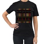 Tardis Doctor Who Ugly Holiday Women s T-Shirt (Black) (Two Sided) Front