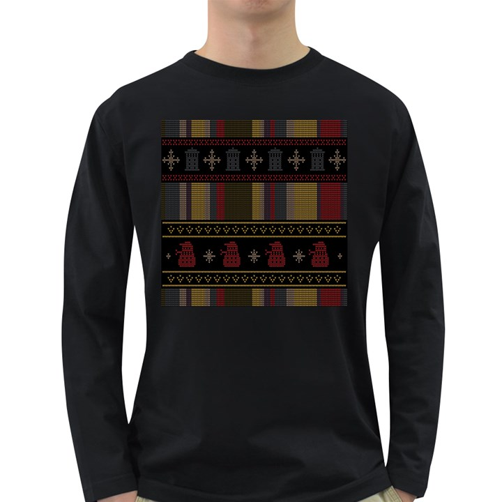 Tardis Doctor Who Ugly Holiday Long Sleeve Dark T-Shirts
