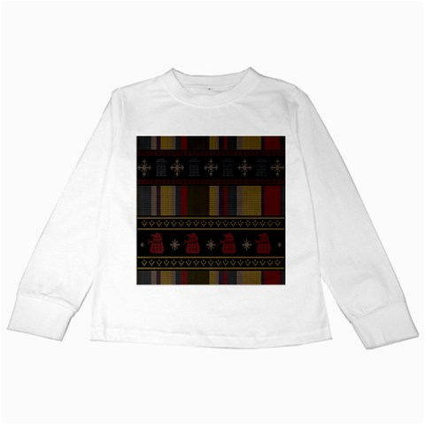 Tardis Doctor Who Ugly Holiday Kids Long Sleeve T-Shirts