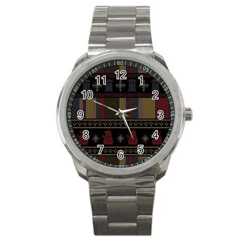 Tardis Doctor Who Ugly Holiday Sport Metal Watch