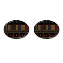 Tardis Doctor Who Ugly Holiday Cufflinks (Oval)
