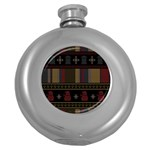 Tardis Doctor Who Ugly Holiday Round Hip Flask (5 oz) Front