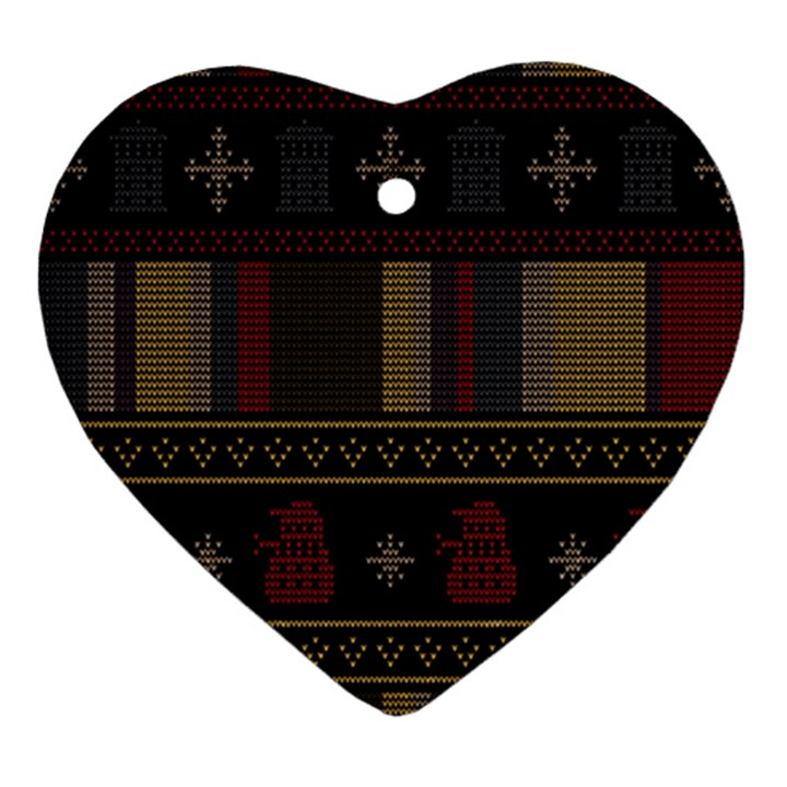 Tardis Doctor Who Ugly Holiday Heart Ornament (2 Sides)