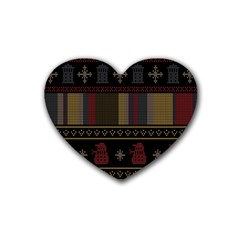 Tardis Doctor Who Ugly Holiday Heart Coaster (4 pack)