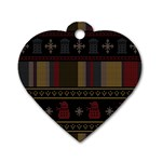 Tardis Doctor Who Ugly Holiday Dog Tag Heart (Two Sides) Front