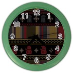 Tardis Doctor Who Ugly Holiday Color Wall Clocks Front