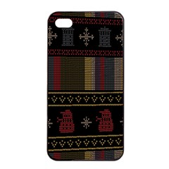 Tardis Doctor Who Ugly Holiday Apple iPhone 4/4s Seamless Case (Black)