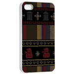 Tardis Doctor Who Ugly Holiday Apple iPhone 4/4s Seamless Case (White) Front