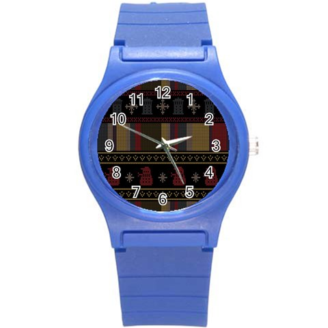 Tardis Doctor Who Ugly Holiday Round Plastic Sport Watch (S)