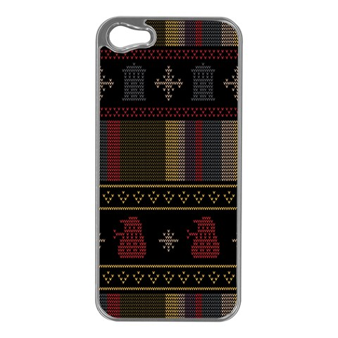 Tardis Doctor Who Ugly Holiday Apple iPhone 5 Case (Silver)