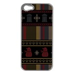 Tardis Doctor Who Ugly Holiday Apple iPhone 5 Case (Silver) Front