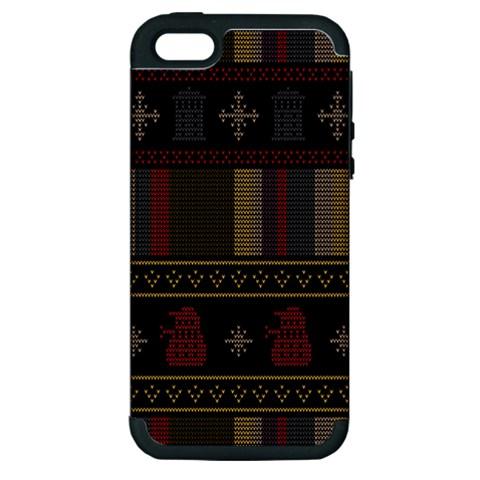 Tardis Doctor Who Ugly Holiday Apple iPhone 5 Hardshell Case (PC+Silicone)
