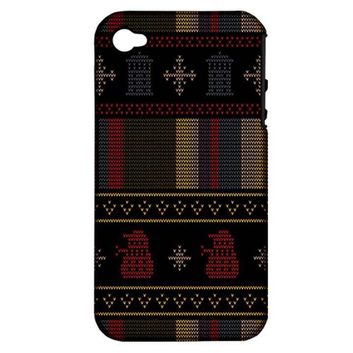 Tardis Doctor Who Ugly Holiday Apple iPhone 4/4S Hardshell Case (PC+Silicone)
