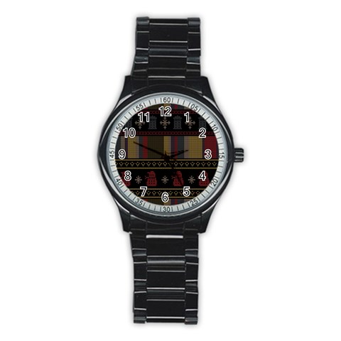 Tardis Doctor Who Ugly Holiday Stainless Steel Round Watch