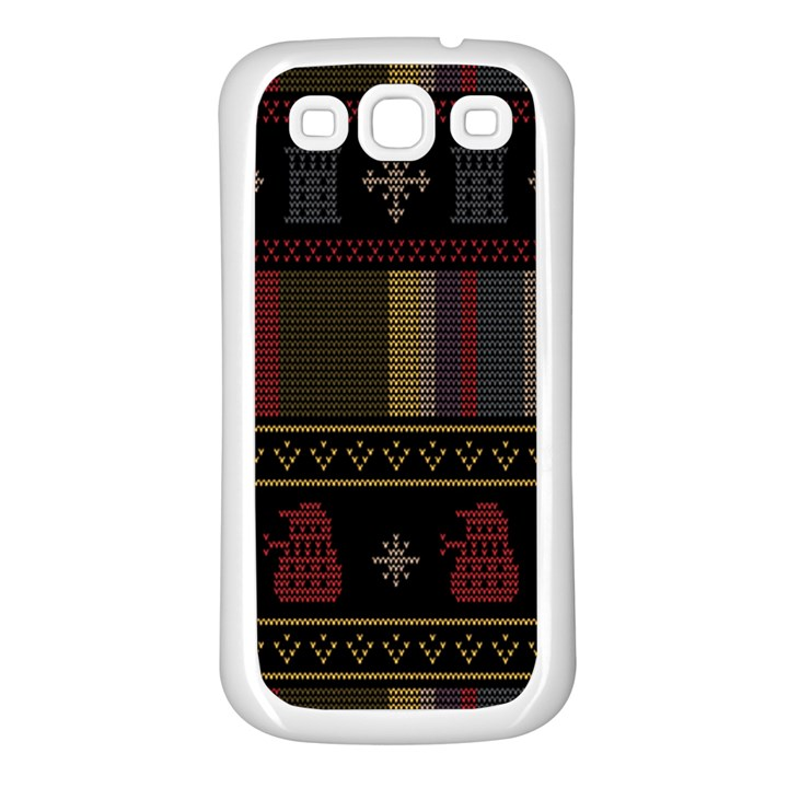 Tardis Doctor Who Ugly Holiday Samsung Galaxy S3 Back Case (White)