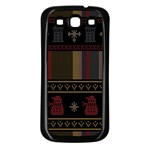 Tardis Doctor Who Ugly Holiday Samsung Galaxy S3 Back Case (Black) Front
