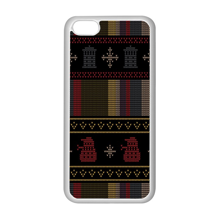 Tardis Doctor Who Ugly Holiday Apple iPhone 5C Seamless Case (White)