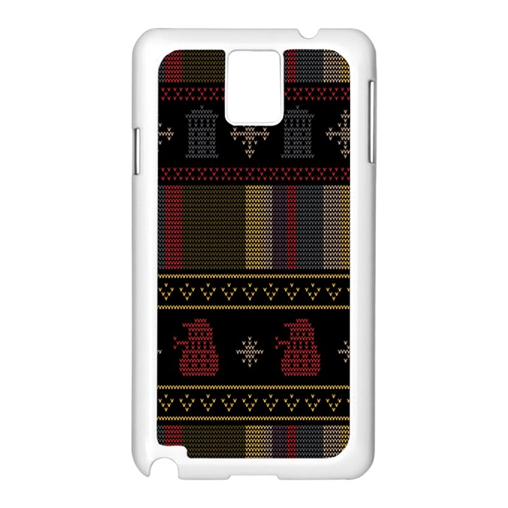 Tardis Doctor Who Ugly Holiday Samsung Galaxy Note 3 N9005 Case (White)